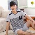 Бесплатная Доставка Мужчины с коротким рукавом пуловер летом пижамы 100% хлопок одежда тонкий случайные плюс размер lounge Пижамы Установить