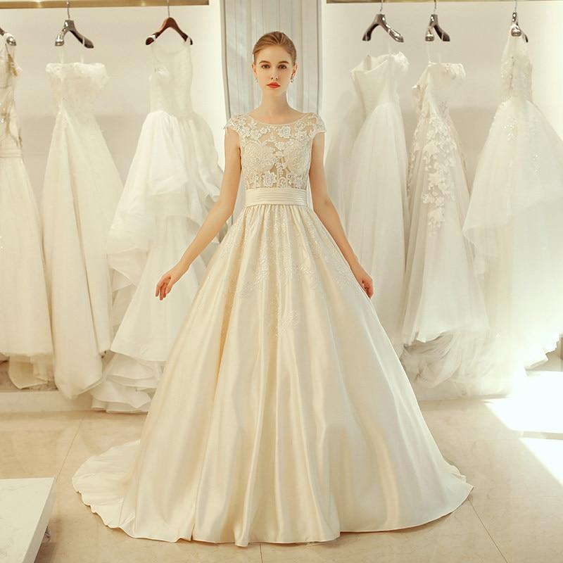 Elegant Wedding Dresses 2019 Backless Wedding Gowns A Line Vintage Vestido De Noiva White Ivory Bride