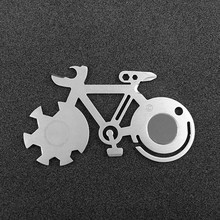 Titanium-Plated Bicycle Shape EDC multi-tool card Compact and portable Wrench Screwdriver Cycling Camping Survival Keychain