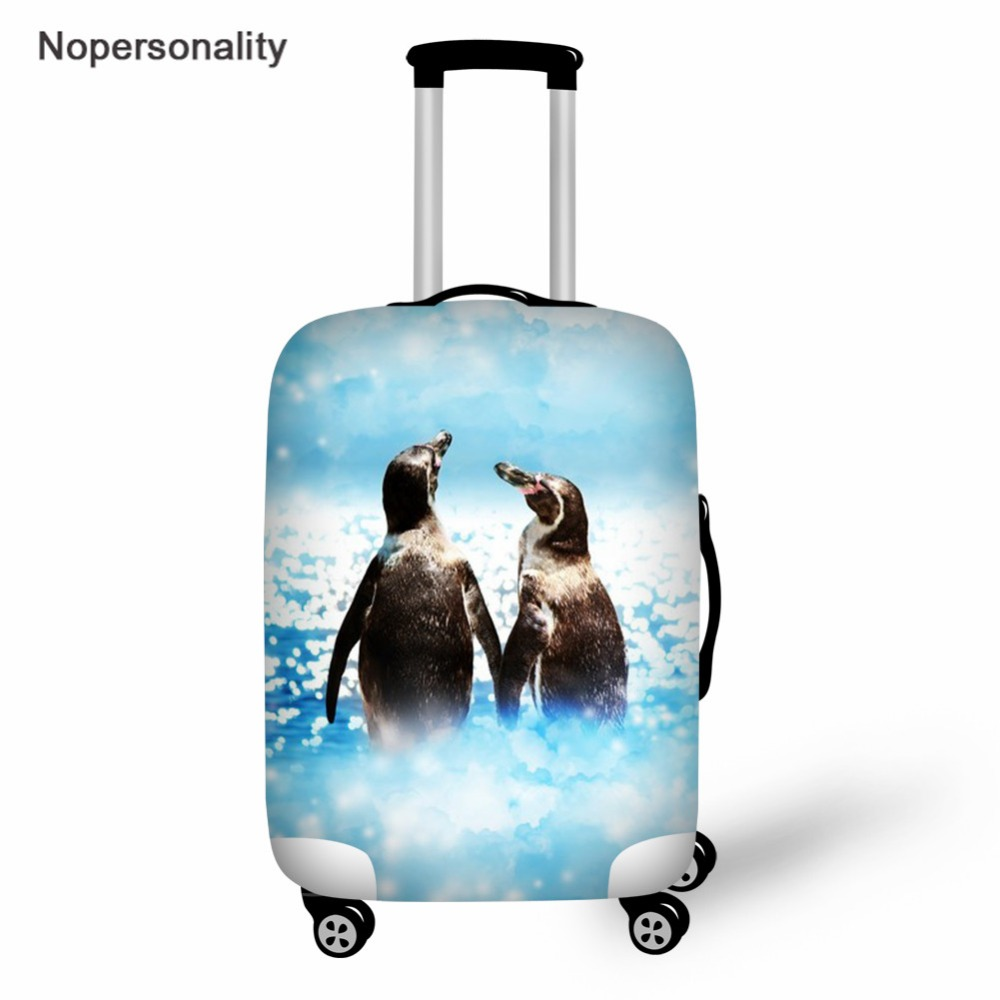 Nopersonality Blue Penguin Prints Suitcase Elastic Zipper Dust Cover Luggage Case Protective Cover Apply for 18 to 30 Inch