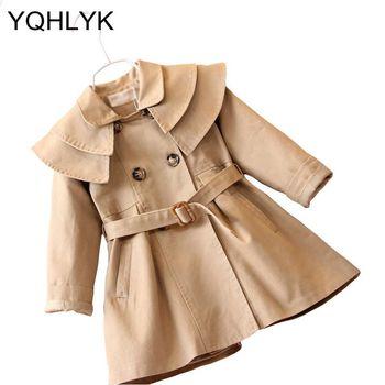Новая мода Демисезонный куртка для девочек одноцветное Цвет с лацканами Пальто для девочек детская одежда парка Повседневное сладкий Детс...