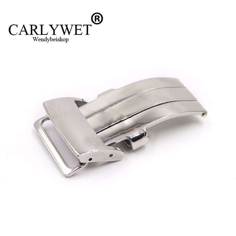 CARLYWET 20mm Silver Polished 316L Stainless Steel Watch Band Deployment Clasp For Less 3.2mm Leather Strap Belt For Breitling