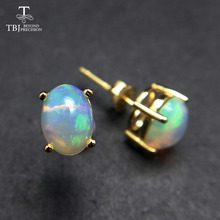 TBJ,natural ethiopian opal  gemstone simple & classic design earring in 925 sterling silver jewelry for girls & lady with  box tbj feather gemstone ring with natural ethopian opal good fire in 925 sterling silver fine jewelry for girls with jewelry box
