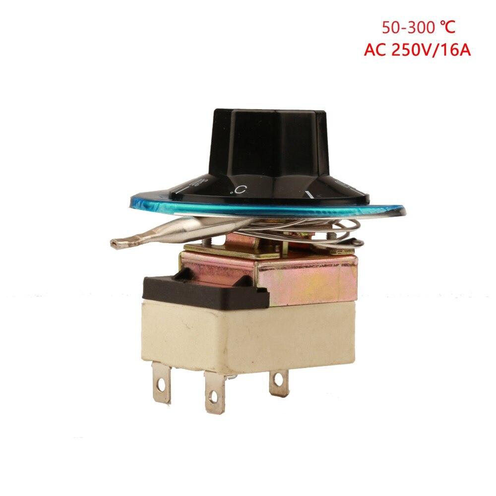 50-300 graus nc termostato capilar 3pin pinkage interruptor de controle de temperatura botão forno termostato ajustável