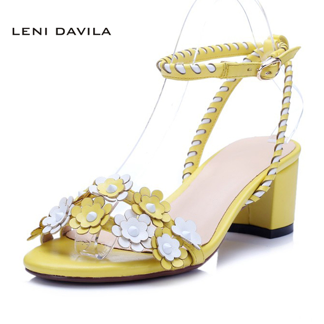 LENI DAVILA Summer Full Grain Leather Women's flowers yellow ...