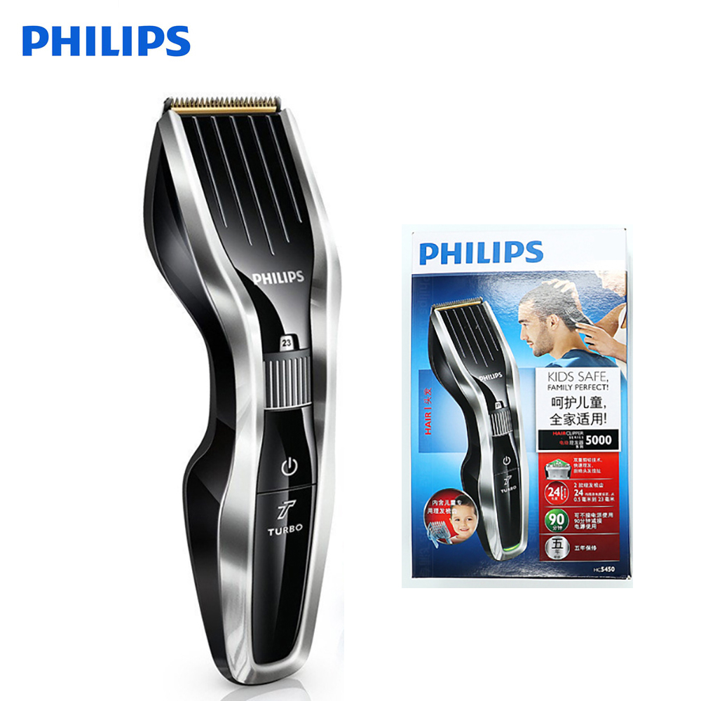 Professional Philips Electric Hair Clipper HC5450 with Rechargeable Titanium Alloy Blade Cordless LCD Display Shaver for Men-in Electric Shavers from Home Appliances