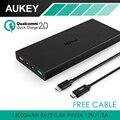 Aukey carga rápida 2.0 y cable 16000 mah doble puerto usb banco de la energía de batería externa portátil para iphone lg samsung s6/edge y más