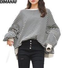 цена на DIMANAF Plus Size Hoodies Sweatshirts Women Autumn Batwing Long Sleeve Lady Tops O-Neck Cotton Striped Loose Fashion Shirts 2020