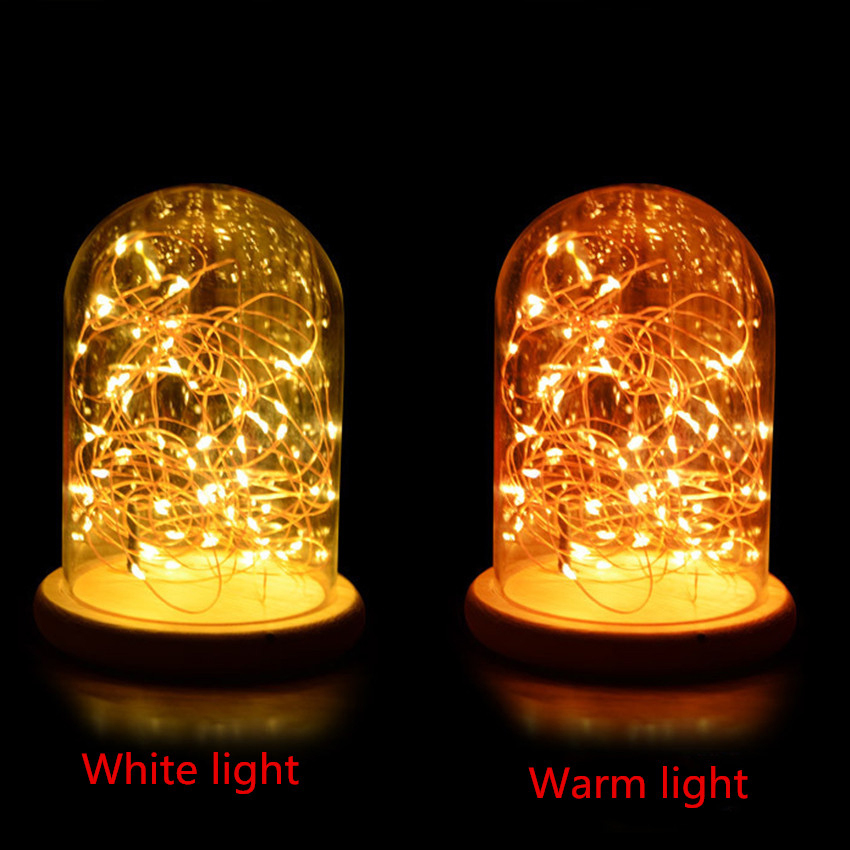 Glass Dome Night Lights Led Wooden Base Spark Usb Night Lamp Bedroom Projector Table Lamp with Warm Fairy Starry String Lights