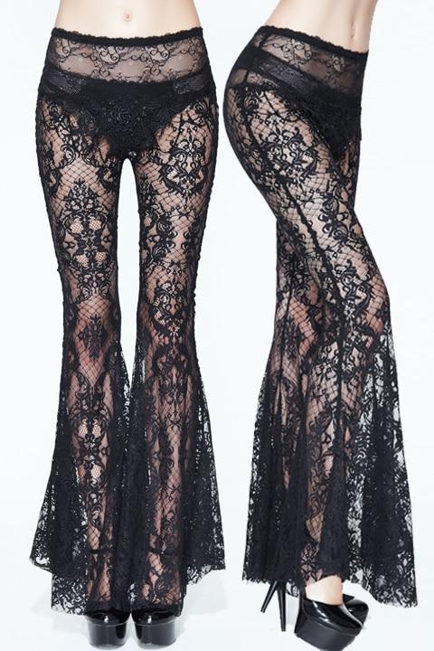 schwarze lange sexy Hosen Dame gotische der Frauen Retro durchbrochene Applique Spitzenaufflackern Perspektive Eva WEH9D2I