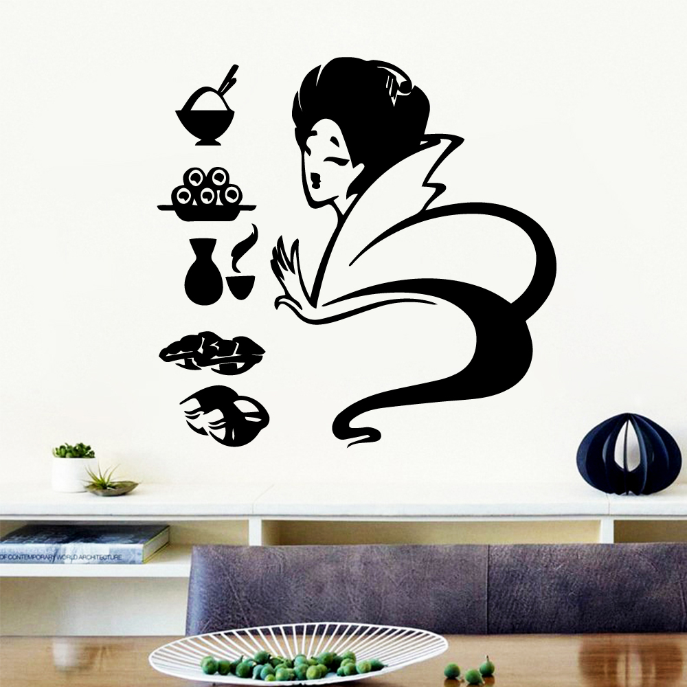 Free shipping sushi Removable Pvc Wall Stickers vinyl Decor Decals