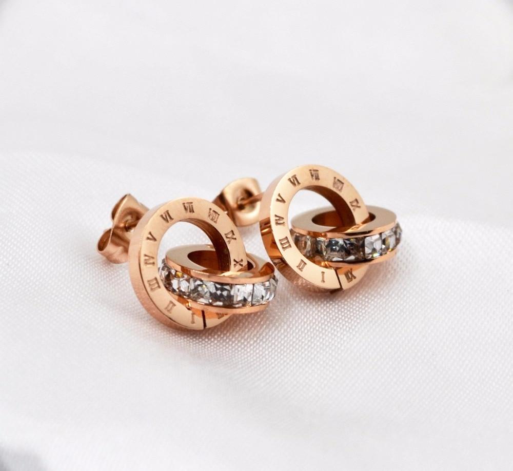 Luxury Fashion Stainless Steel flash Rome digital brand jewelry lady all-match titanium stud earring jewelry for women men