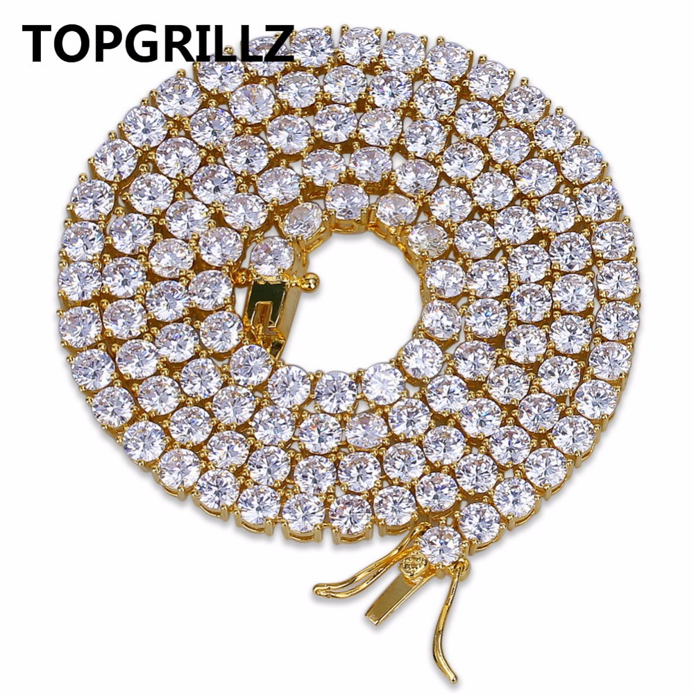 TOPGRILLZ Hip Hop Chain Necklace All Iced Out 1 Row 4mm Micro Pave CZ Stones Necklaces Punk Rock Jewelry 20inch, 24inch