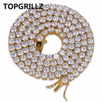 TOPGRILLZ Hip Hop Chain Necklace All Iced Out 1 Row Micro Pave CZ Stones Necklaces Punk