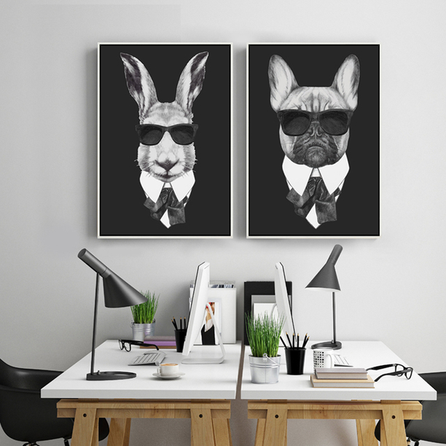Cool Rabbit Pig Drawing With Glasses Canvas Wall Art Print Painting