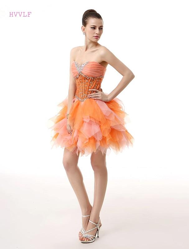 Offen Orange 2019 Cocktail Kleider Elegante A-line Liebsten Short Mini Tüll Perlen Kristalle Party Plus Größe Homecoming Kleider In Vielen Stilen Weddings & Events