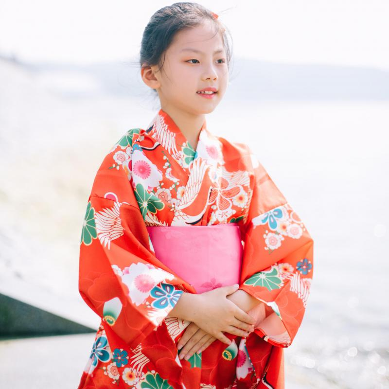 Japanese Traditional Children Kimono Red Elegant Girl Stage Performance Clothes Cosplay Costume Print Floral Classic Robe Gown