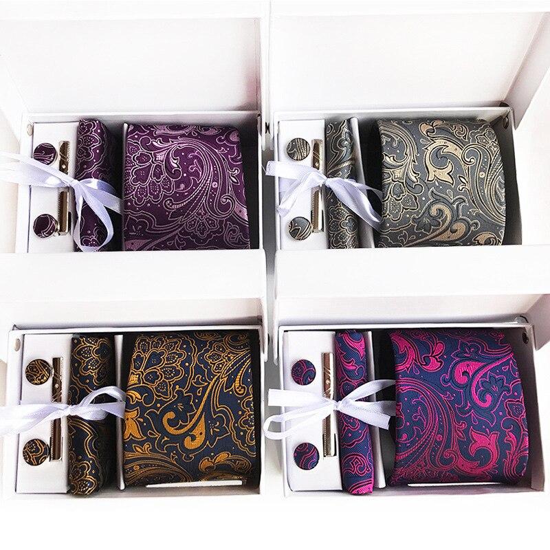 High Quality Classic Paisley Cashew Flowers Jacquard Woven Silk Men's Tie + Cufflinks + Hanky + Clips Box Set Necktie Cufflink