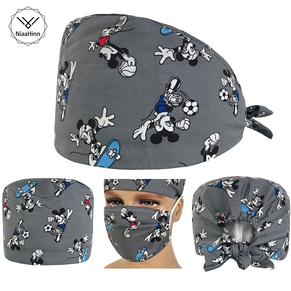 Factory Wholesale Unisex Beauty Cap Practical Medical Surgical Surgery Hat Nurses Doctor Printing Hat/mask Food Service Working