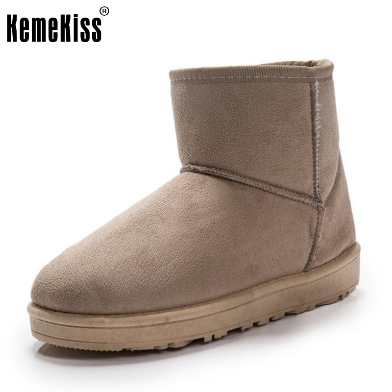 KemeKiss 7 Colors Women Half Short Snow Boots Women Thick Fur Mid Calf Boots For Cold Winter Shoes Women Footwears Size 35-40