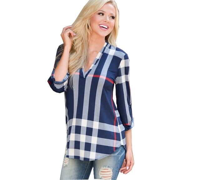 2017 Autumn Women Plaid T-shirt V Neck Three Quarter Sleeve Plus Size Female Top XXXL EU/US Big Size Tshirt Casual Top Tee Shirt