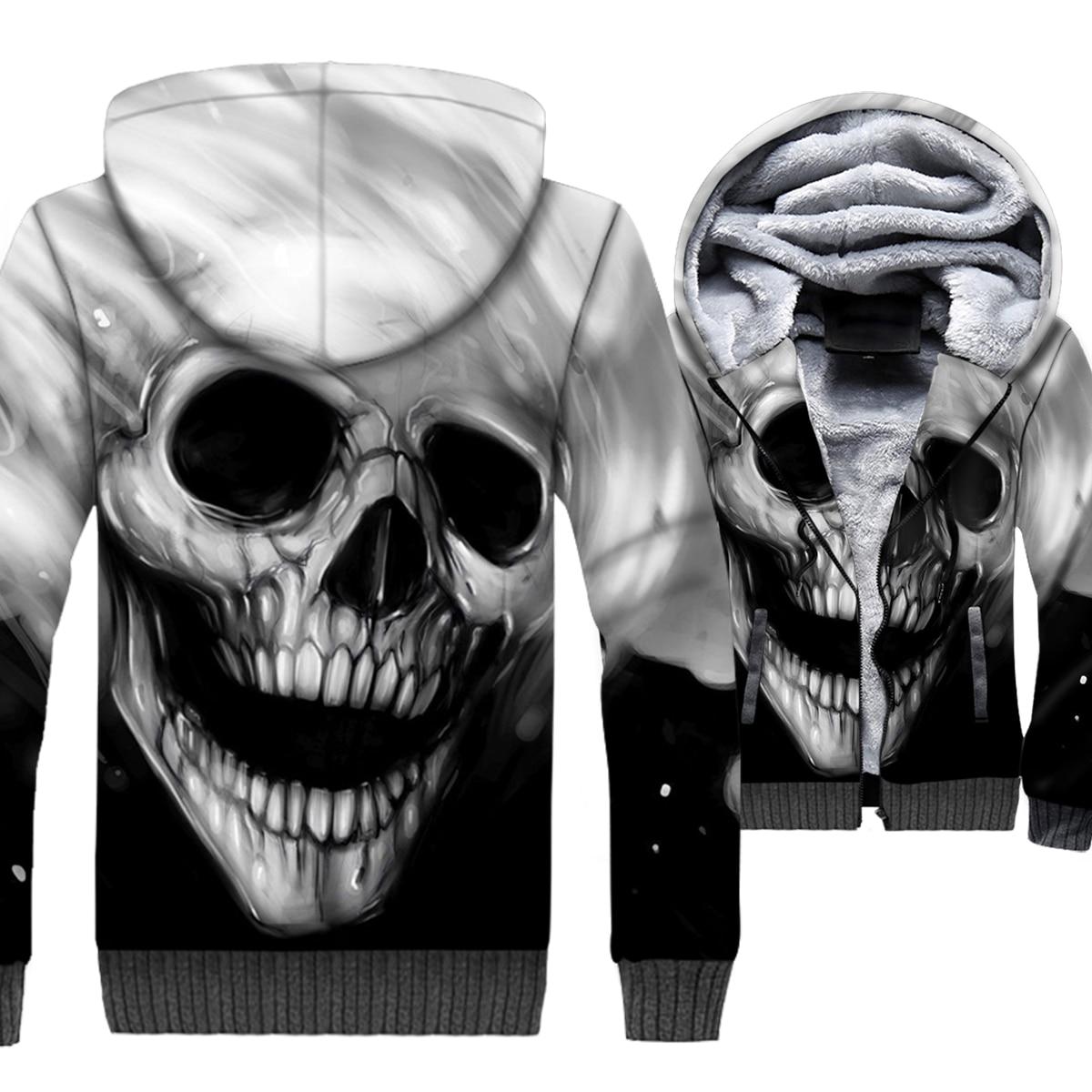 Ghost Rider Череп Пламя 3D печати Толстовка для мужчин прохладный с капюшоном зимняя флисовая куртка на молнии Готический Куртка хип хоп Уличная