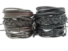 Trendy Men's Women's leather Wristband Braid bracelet Vintage Handmade DIY leather Wrap ethnic tribal cuff bracelet