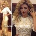 2017 Fares Árabe myriam Celebrity Dresses La Vaina Cuello Alto Medias Mangas Piso-Longitud Champagne Encaje Vestidos de la Alfombra Roja
