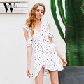 Wyhhcj 2017 cold shoulder ruffle dot print summer dress vintage irregular bow wrap dress short dress mujeres elegantes vestidos de gasa blanca