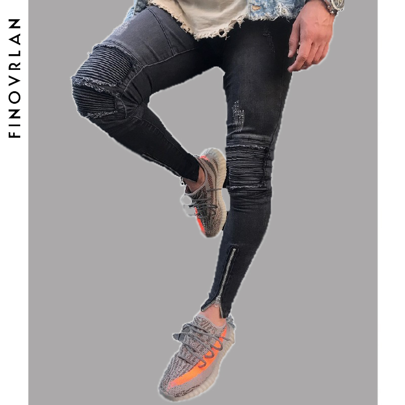 Brand Slim Fit Ripped Jeans Men black Hi-Street Mens Distressed Denim Joggers Knee Holes Washed Destroyed Ankle zipper Jeans