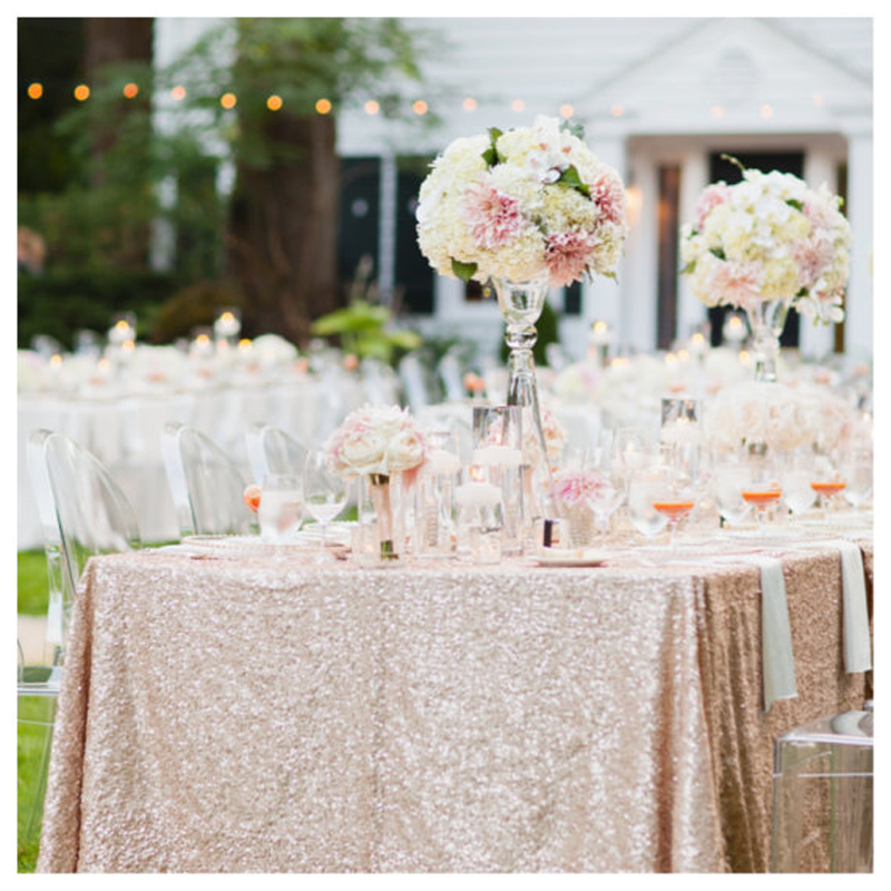 Free Shipping 125x180cm Champagne Gold Silver Embroidery Mesh Sequin Tablecloth Sequin Table Overlay for Wedding Party