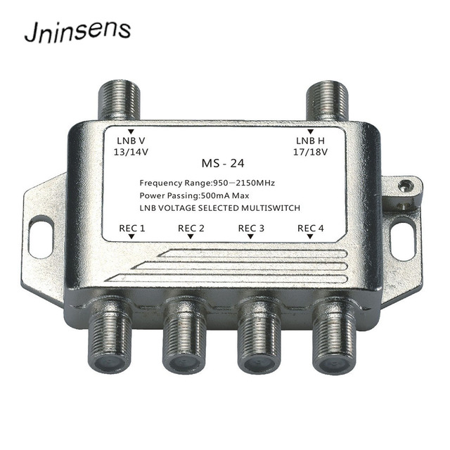 2x4 DiSEqC Satellite Stand Alone MultiSwitch FTA TV LNB Switch Cascade 2 in 4 multiswitch 2 LNB 4 REC  For DVB S2 and DVB T2