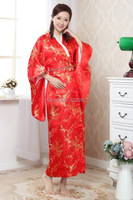 Shanghai Story hot sale Vintage Japanese Style dress Women's Silk Satin Kimono Yukata Evening Dress Flower 4 color H0051