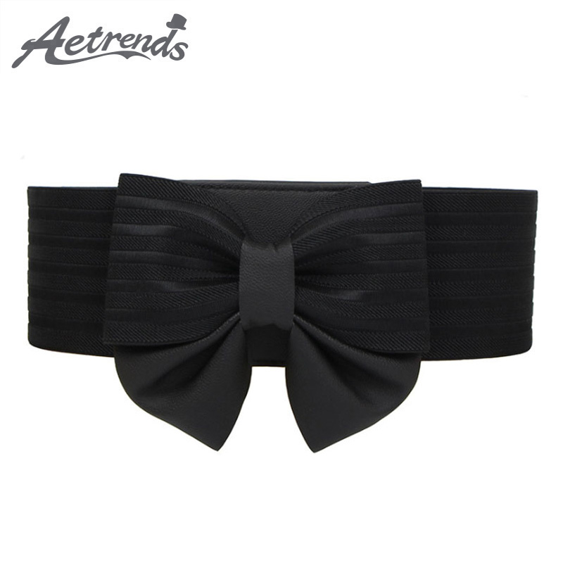 [AETRENDS] Women Wide Elastic Cinch Belt Bow Belts All-match Wide Stretch Waist Elastic Cummerbunds For Dress D-0108