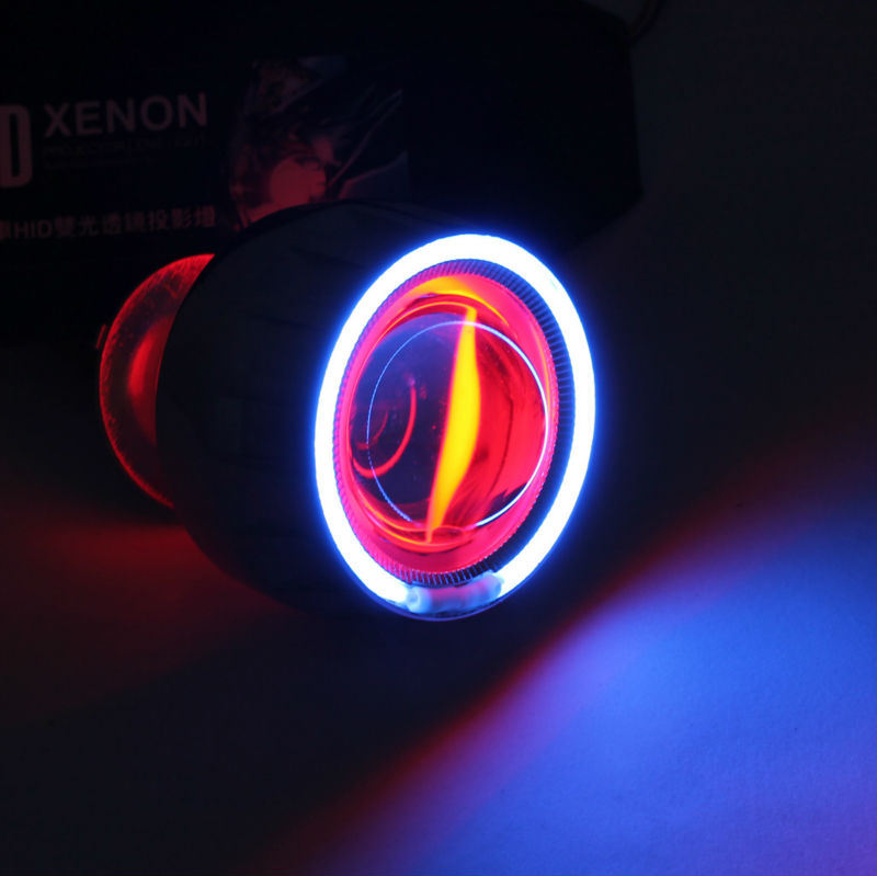 Penjualan terbaik!! HID Bi-xenon Projector Lens Kit Motor H7 H1 H4 Bule  Malaikat Mata Iblis Eye pencahayaan lampu Merah 62d954b6b6