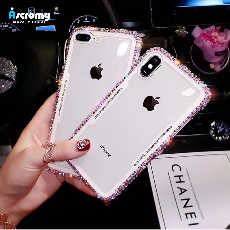 Ascromy For iPhone 7 Case Glitter Rhinestone Silicone Bumper Tempered Glass Back Cover For iPhone X 8 Plus 6 6S Capa Accessories (6)