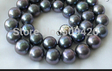 W&O653 stunning big 12mm perfect round black freshwater pearl necklace silver
