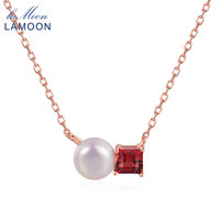 Lamoon Simple 100 Natural Red Garnet Freshwater Pearl 925 Sterling Silver Chain Pendant Necklace Rose Gold