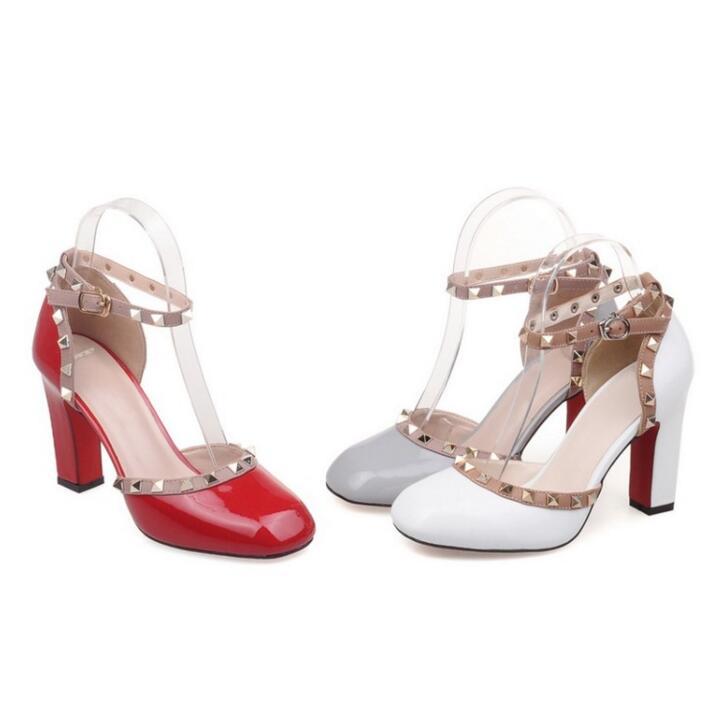 Women Es High Heels Leder Sexy Fashion Nieten Spitze Stiletto Heels Braut Hochzeit Schuhe Pumps Grey 10.5 CmS