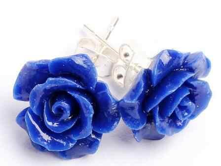 จัดส่งฟรีเลดี้12มิลลิเมตรไพฑูรย์แกะสลักดอกกุหลาบ925สีเงินหรูหราต่างหู