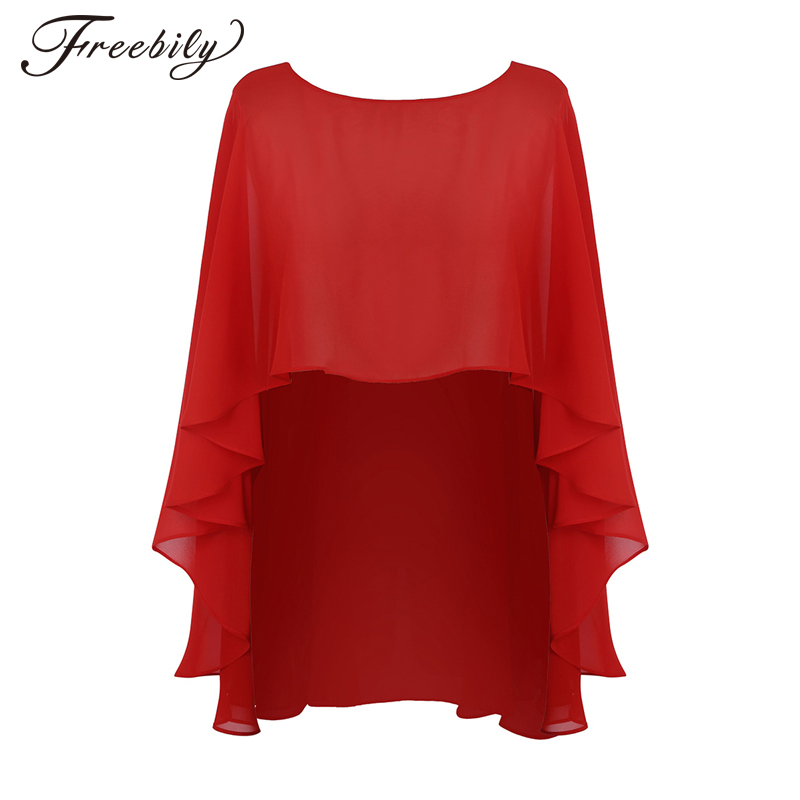 Bridal Vestido De Festa Women's Soft Lightweight Chiffon High Low Shawl   Wraps   Shrug Chiffon Evening Wedding Cape Bolero Cover Up
