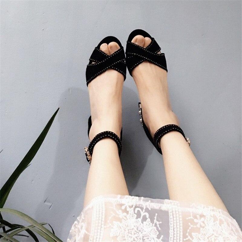 Chaussures Cheville Cristal Femmes Sangle Sexy As Parti Banquet Pic Sandales Talon Carré Perles Toe Boucle De Femme Pompes Noir Suede Peep Luxe 5EUq5H