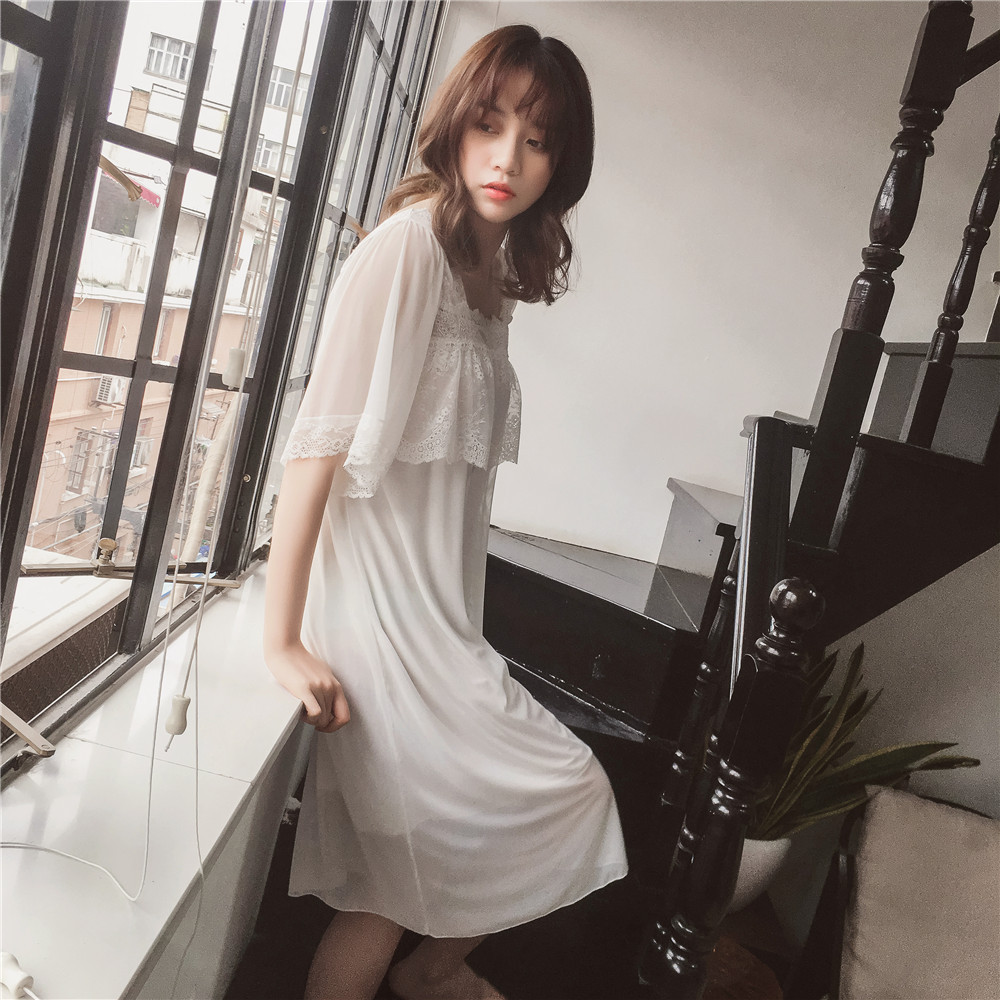 Japan Style Palace Princess Dress Nightdress Half sleeved Women Nightgowns Modal Polyester Soft Dress Summer Spring Sleepwear in Nightgowns Sleepshirts from Underwear Sleepwears