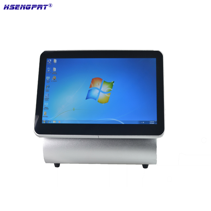 15.6 inch all in one point pos system can build in receipt printer and barcode reader single screen and dual screen option