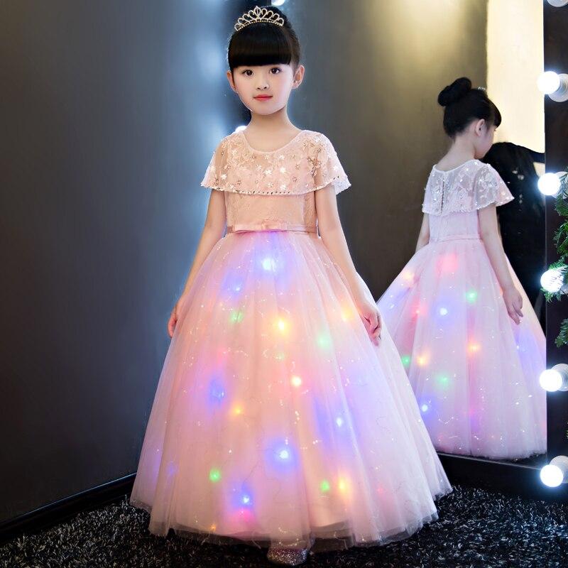 Girls Dress 2017 New European Summer Mesh Princess Pink Dress Lantern dreaming children party dress Clothes Girls Long Dress