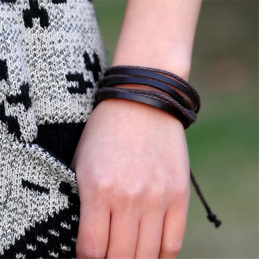 Vintga Women Men Cosplay Costumes Props Leather Knit Hemp Rope Bracelet