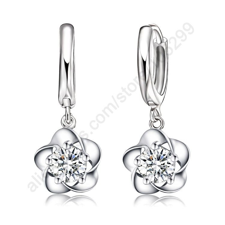 Fine Nice Woman Lever Back Loop Earrings Pure 925 Sterling Silver Exquisite Flower high quality fashion classic jewelry