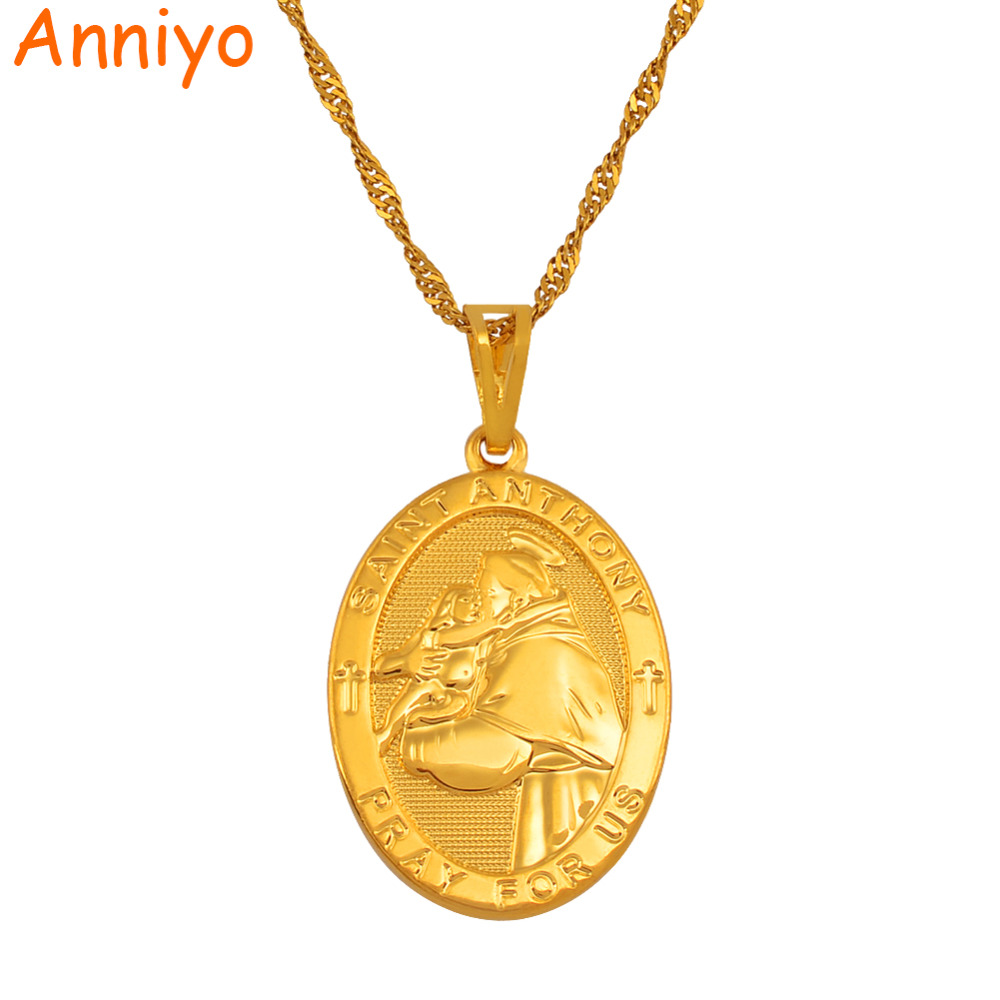 Anniyo SAINT ANTHONY PRAY FOR US Pendant & Necklace Women Gold Color st.Anthony Necklaces JewelryAnniyo SAINT ANTHONY PRAY FOR US Pendant & Necklace Women Gold Color st.Anthony Necklaces Jewelry