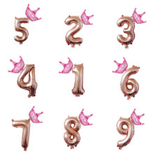 32/40Inch Crown Rose Gold Number Foil Balloons 1 2 3 4 5 6 7 8 9 Years Old Kids Boy Girl Birthday Party Decoration Air