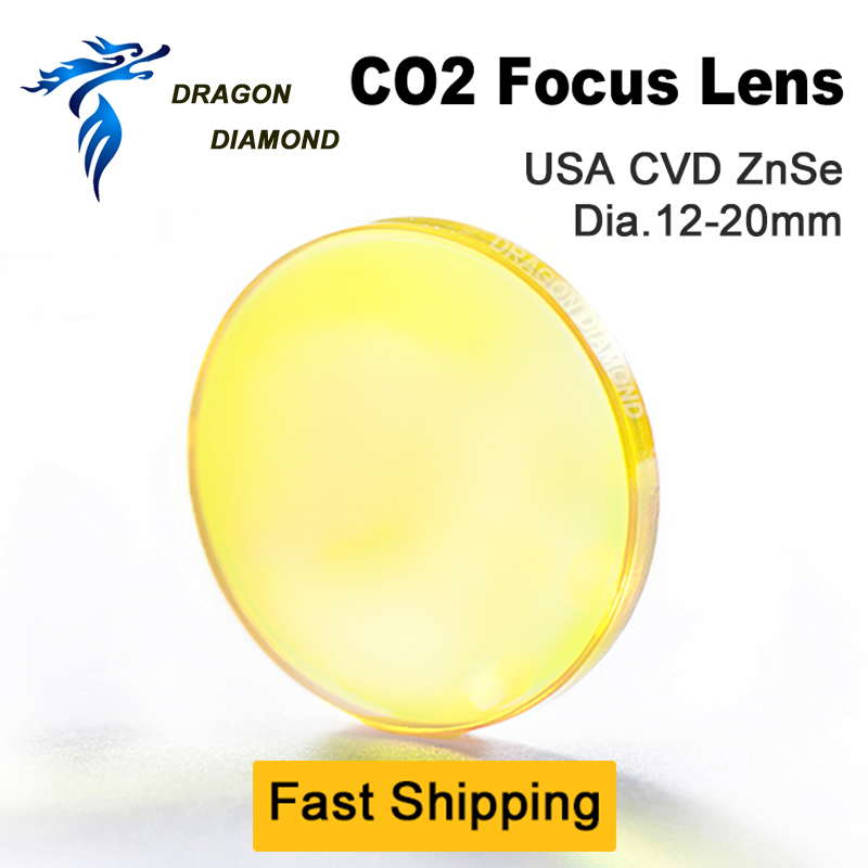 CO2 EUA CVD ZnSe Lente Do Laser 12mm 15mm 18 milímetros 19.05 milímetros 20mm de Diâmetro 38.1-127mm 1.5-polegada Comprimento Foco espelhos Para CO2 5 Máquina A Laser